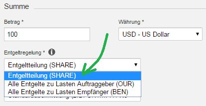 DKB Auslandsüberweisung SHARE / OUR / BEN