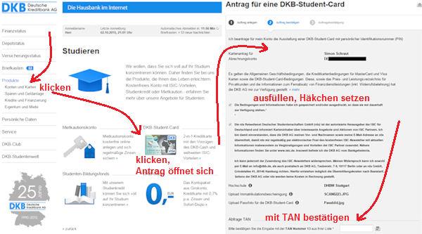 So beantragt man die DKB Student Card als DKB-Bestandskunde.