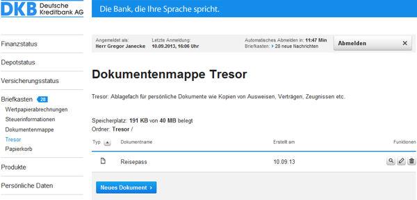 DKB Tresor im Online-Banking