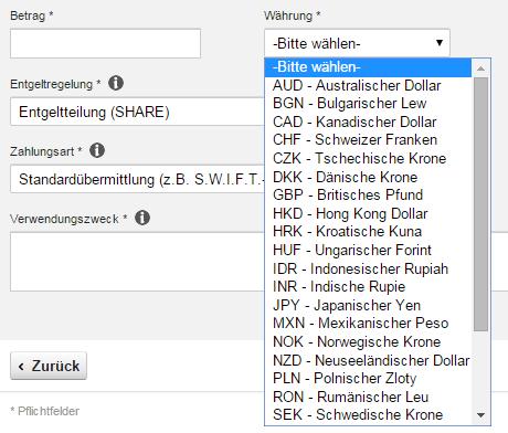 DKB Überweisung in anderer Währung