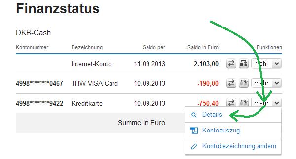 Kreditkartenrahmen im Finanzstatus bei der DKB prüfen.