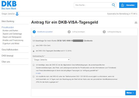 Visa Tagesgeld bei der DKB beantragen