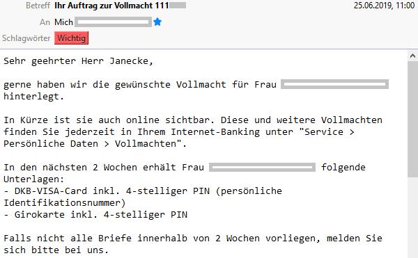 E-Mail der DKB zur Vollmacht