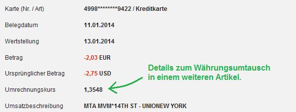 Detaillierter Kreditkartenauszug mit Währungskurs der DKB / Firstdata