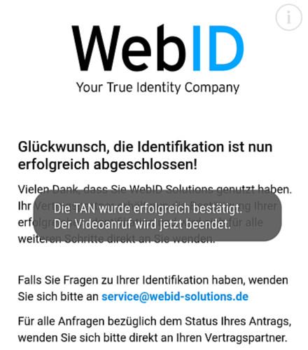 Идентификация через WebID в банке DKB пройдена
