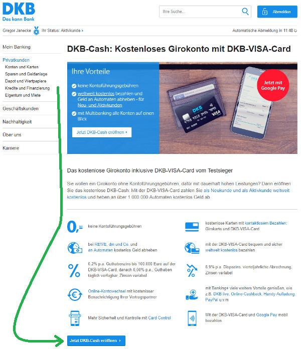 DKB Zweitkonto mit Visa Card eröffnen