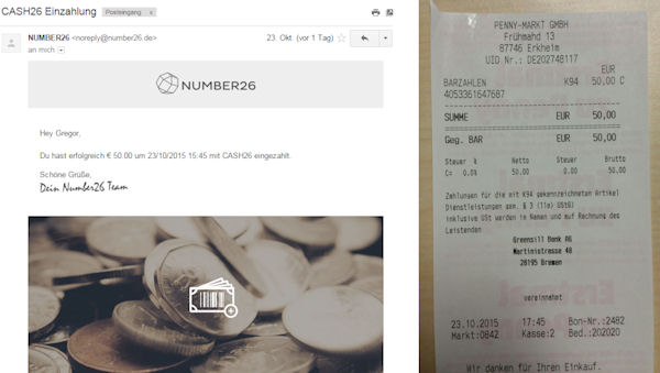 QDeposit receipt of the supermarket / number26
