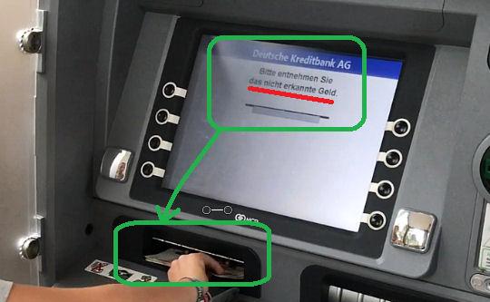 Einzahlungsautomat erkennt Geld nicht