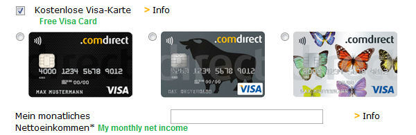 Apply comdirect VISA