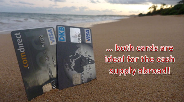 DKB and Comdirect Visa Card at the beach