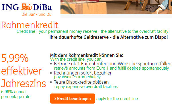 ING-DiBa Rahmenkredit in English