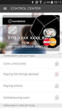 Locked Number26 card for foreign payments