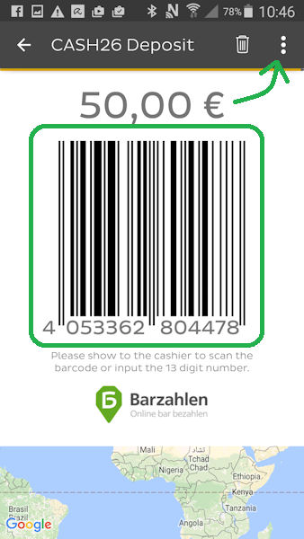 Barcode for the deposit of cash