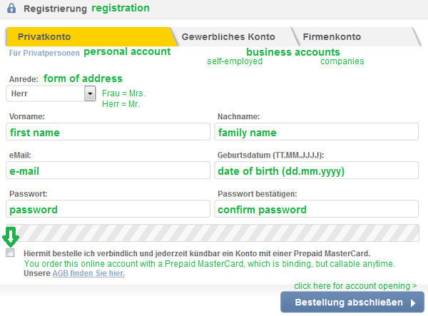 Online form for account opening