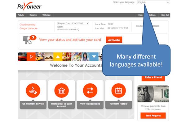 Payoneer account: many differenzt languages are available