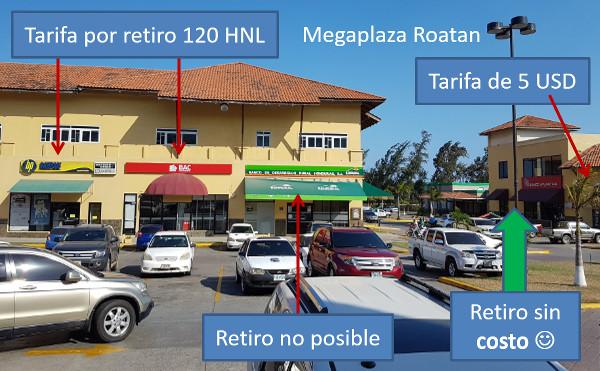 Retirar dinero gratis en Roatan - Honduras