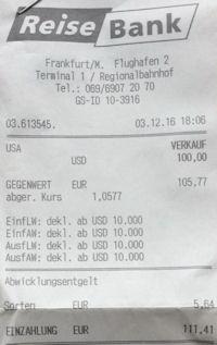 Quittung der Reisebank für Euro-Dollar-Wechsel