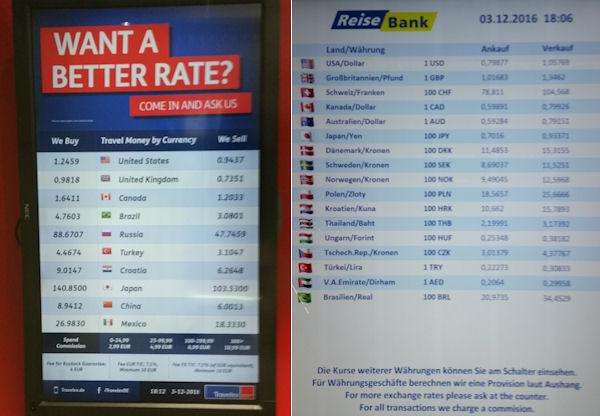 Euro in Dollar wechseln auf dem Flughafen