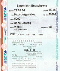 Fahrkarte und Kreditkartenbeleg vom Kauf einer Fahrkarte in Frankfurt