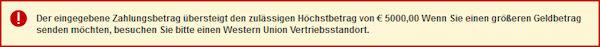 Western Union Fehlermeldung