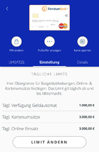 Ferratum Karteneinstellungen via App