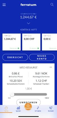 Banking App der Ferratum Bank (kostenloses Auslandskonto)