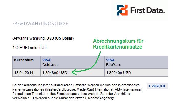 First Data Abrechnungskurs für Kreditkartenumsätze DKB