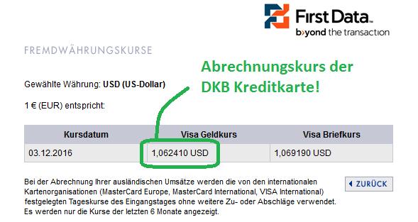 Wechselkurs Dollar / Euro der DKB Kreditkarte