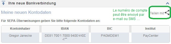 Nouveau numéro de compte pour le compte en ligne