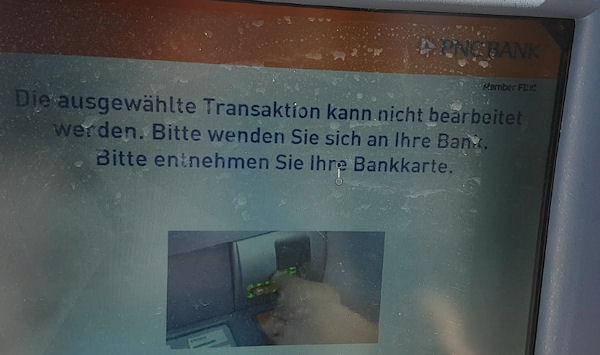 Fehlermeldung beim Geldabheben