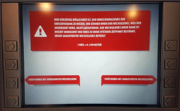 Geld abheben in Kroatien Warnung