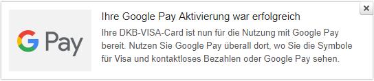Google Pay Aktivierung erfolgreich