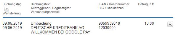 Gutschrift für Aktivierung von Google Pay