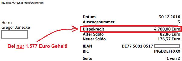 Dispo bei der ING-DiBa als Kreditlinie