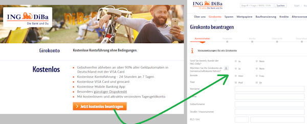 Open current account at ING-DiBa now