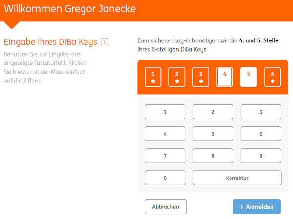 Login zum Online-Banking der ING-DiBa