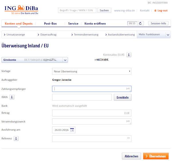 Online-Banking der ING-DiBa