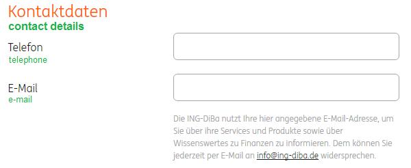 Kontaktdaten zur Kontoeröffnung eingeben