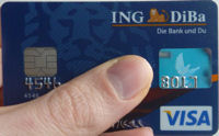 Debit Visa card of the ING-DiBa