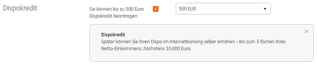 Dispo 500 Euro bei der ING