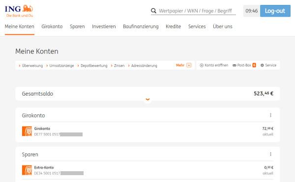 Online Banking der ING Deutschland