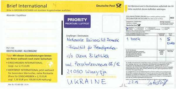Zollinhaltserklärung beim internationalen Brief
