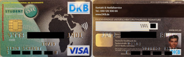 Vorder- und Rückseite der DKB-Student-Card