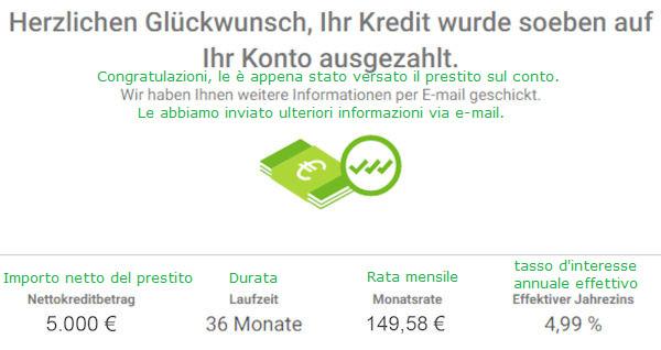 Smava di credito ha pagato 5000 euro
