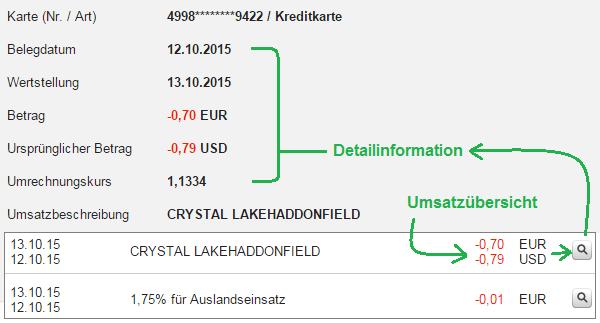 Abrechnung des Kartenumsatzes der DKB.