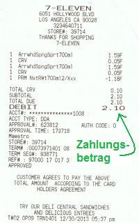 Quittung meiner Testzahlung in den USA
