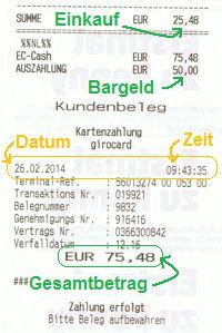 Kassenbon vom Penny-Markt über die Bargeldabhebung mit der Comdirect Girocard