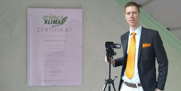 """Zertifikat """"grünes Klima"""""""