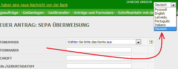 Deutshe Sprachversion beim Konto in Lettland (Privatbank)