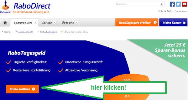 Konto bei der RaboDirect eröffnen